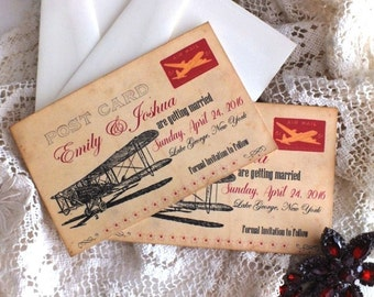 Vintage Airplane Postcard Save the Date Cards Handmade by avintageobsession on etsy