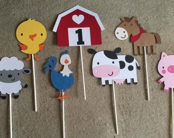 Barn Yard Centerpieces.Birthday,BabyShower.Pig,Cow,Horse,Barn,Lamb,Chick,Rooster. Free Shipping