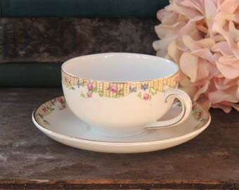 John Maddock and Sons Ltd. Royal Vitreous China Tea Cup & Saucer Set, Cottage Style Tea Party Bridesmaid Luncheon Housewarming Gift