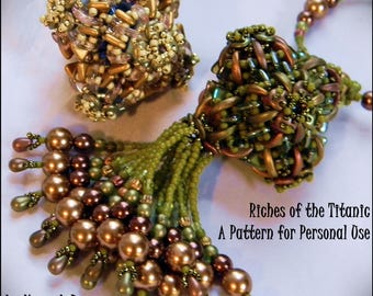Just Released - Beading Instructions - Riches of the Titanic Beaded Pendant or Ornament advanced level pattern tutorial DIY by Hannah Rosner