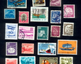 21 Transportation Theme Postage Stamps - Arts and Crafts, Collage, Mixed Media, ATC