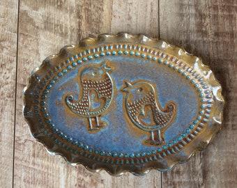 Handmade pottery birds plate
