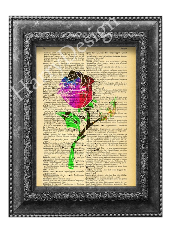 Beauty and the Beast Belle Rose book print dictionary page
