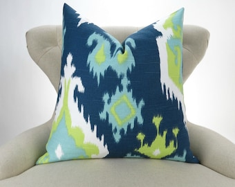 Navy Blue & Green Ikat Pillow -MANY SIZES- Lime Green, Teal Blue, Cushion Cover, Throw Pillow, Euro Sham, Canal Premier Prints, FREESHIP
