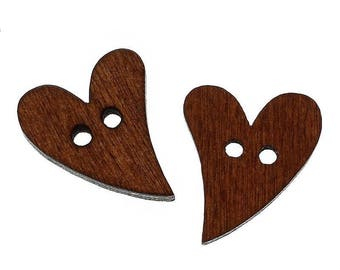 5 buttons - dark brown hearts - 2 holes - 20 x 17 mm