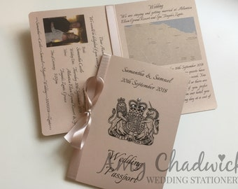 Passport style wedding invitations, great for destination wedding or travel theme wedding - SAMPLE ONLY