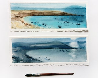 Sea Watercolor Art Watercolor landscape Diptych Ocean painting Seascape painting Sae wall art