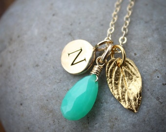 Green Chrysoprase Necklace - Initial Charm Necklace - 14K GF, Mint Green Stone