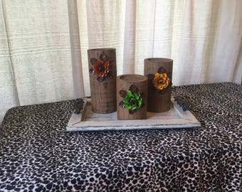 Wooden Candleholders (set of 3)  Brown with Orange, Mustard and Green Flowers