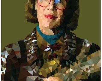 The Log Lady Low-Poly Portrait A3 Print