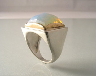 Light square faceted Opal Ring - Opal set in gold on Sterling silver ring, coctail and statement ring.