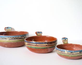 Mexican pottery ceramic nesting bowls - set of 3