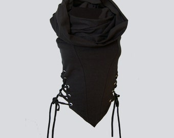 CYPRESS TOP [ burning man clothing . rave top . hooded top . cowl neck top . festival top . festival clothing ]