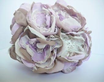 Lavender Fabric Flower Bouquet | Brooch Bouquet | Fabric Flower Bridal Bouquet| Purple, Lavender, Shabby Chic Bouquet | Vintage Bouquet