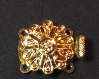 Vintage-Verschluss 2-Strang Tschechische Goldtone Runde filigrane durchbrochene
