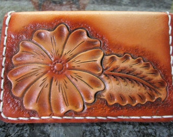 Leather card case , Floral Id case , Women's card case , wallets , leather business card case , Western leather card case , custom tooled
