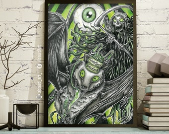 """Poster Limited Edition """"Absintherie Sixtina"""" Wave Gothic Meeting 2018 special edition, absurd art, horror, dark, bat, absinthe, Green Fairy, gothic"""