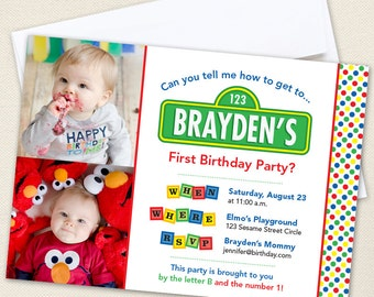 Sesame Street Party Photo Invitations - Professionally printed *or* DIY printable