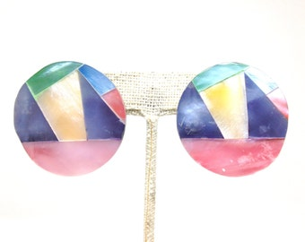 Gorgeous Colorful Circular Silver Tone Vintage Estate Pierced Earrings