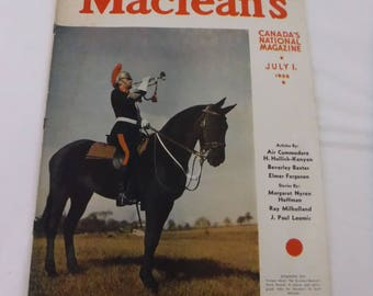 Vintage Maclean's Magazine July 1 1938 Issue