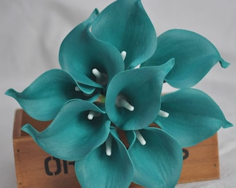 Real Touch Solid Teal Picasso Calla Lilies for Bridal Bouquets, Wedding Centerpieces, Home Decorations, Boutonnieres, Corsage Faux Callas