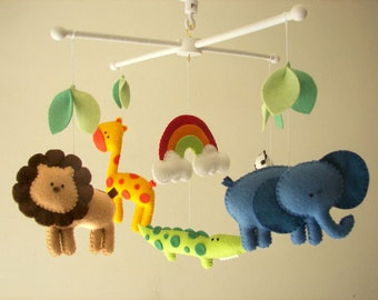 "Baby crib mobile, safari mobile, animal mobile, felt mobile ""Let's go to the Zoo 3"" - Elephant, Lion, Giraffe, Zebra, Alligator"