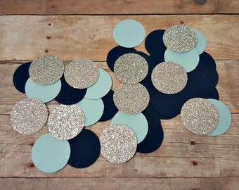225 Light Blue Navy Blue  Silver Glitter Confetti/ It's a Boy/ Wedding Confetti/ Baby Shower Confetti/ Party Decorations/ Shower Decorations