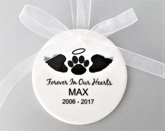 Personalized Pet Memorial Ornament, Pet Memorial Ornament,  Memorial Ornament, Pet Loss Ornament, Pet Remembrance Gift, Christmas Ornament