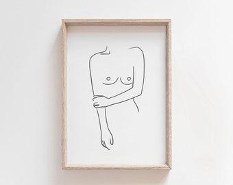 Female Nudity Line Art PRINTABLE, Boobs Print, Line Drawing, Sketch Art Print, Modern Minimalist, Black and White, Line Art Printable