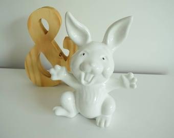 White Rabbit Bank - Porcelain Rabbit Bunny Coin Bank - Nursery Piggy Bank - Children's Piggy Bank - Rabbit Piggy Bank -Baby Shower Gift