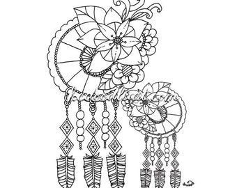 Instant Digital Download - dreamcatcher - coloring page