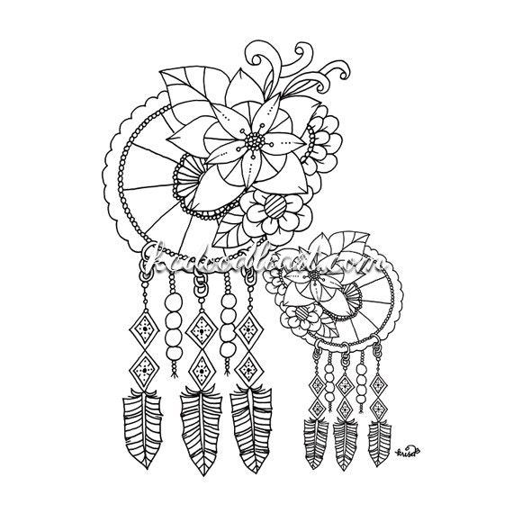 black and white dream catchers coloring pages | Instant Digital Download dreamcatcher coloring page