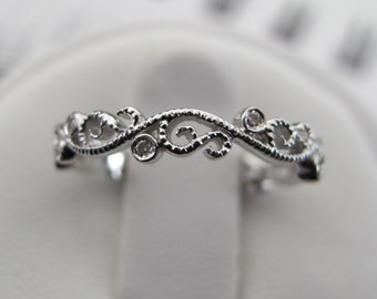Silver Diamond Filigree Wedding Band, Silver Vintage Style Filigree Ring, Antique Style Stacking Ring