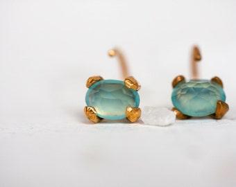 Chalcedony gold  earrings – Blue earrings - Gold studs –Tiny hoop - Minimal earrings for every day