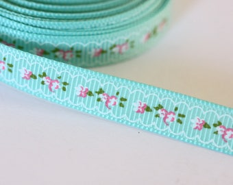 pretty Green Ribbon with small flowers