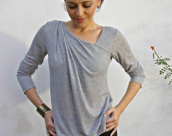 Long Sleeve Tops Women's, Gathered Top, Asymmetrical Gray Top, Loose Fitting Top, Waffle Knit Shirt, Plus Size Tops, Urban Clothing