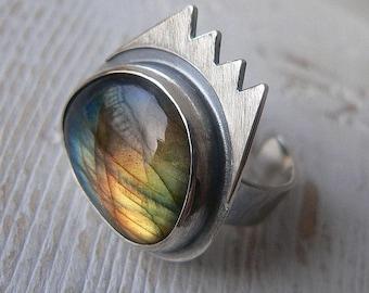 natural Labradorite ring, adjustable size, sterling silver, crown ring
