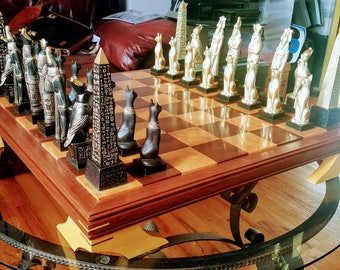 """Made 2 Order]> 7.5"""" EGYPTIAN chess set w/ Obelisk. Ebony & Gold look. Email before ordring. FREE Shipping to the USA only!"""