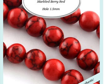 35 x 12mm Marbled  Berry Red Beads