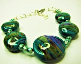 Green Swirly Lampwork Beaded Bracelet - Item 60 B