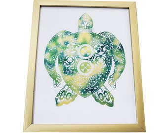 Sea Turtle Foiled Print (Gold Frame INCLUDED!)