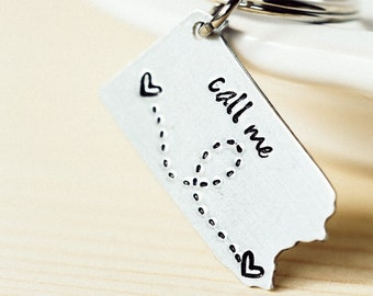 ANY STATE, Arizona with Custom Phrase - Long Distance Relationship Keychain
