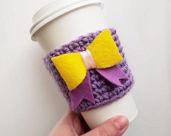 Disney Princess Inspired Felt Bow Crochet Coffee Sleeve Cozy