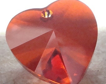 Crystal Heart 28mm Brilliant Pomegranate Red Faceted Austrian Crystal Heart Focal Bead -1 Piece