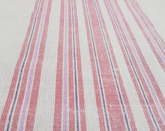Beautiful pink/ offwhite / hand woven /striped /  tablerunner /tablecloth / in linen from Sweden