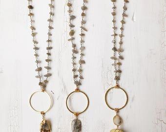 Labradorit Ring Chip Kette | Mond Quarz Punkt | gold filled Crescent moon Halbmond Doppelhorn | Gypsy Nomad  Boho Schmuck | Arrowhead
