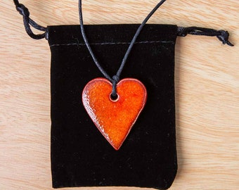Red Ceramic Heart Pendant Necklace (on adjustable black waxed cotton cord)