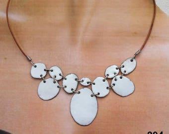 White copper enamel necklace