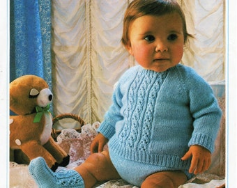 baby 4ply cable sweater pants bootees set knitting pattern pdf baby rompers romper suit jumper booties 16-22 inch 4 ply pdf instant download