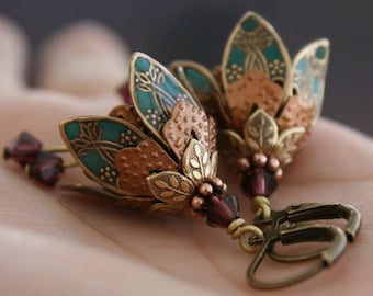 Bridesmaid Jewelry, Earrings, Weddings, Flower Earrings, Dangle Earrings, Gem, Burgundy, Crystal Earrings, Gift For Her, Modern Bride
